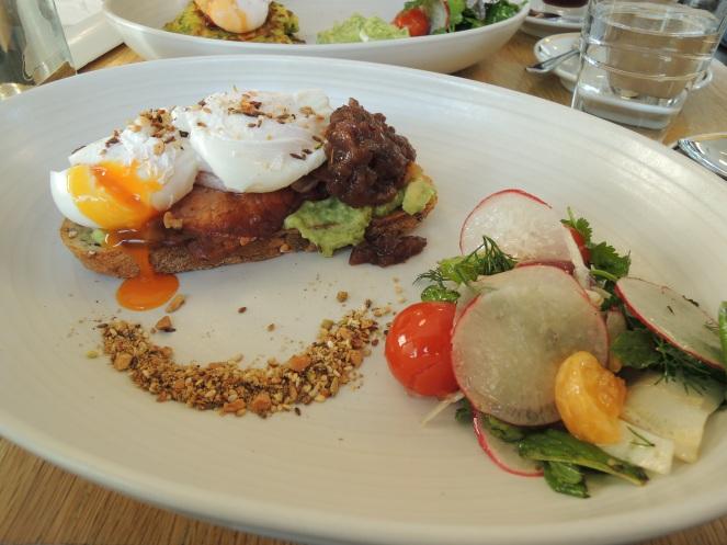 Poached Eggs with avocado, tomato salsa, dukkah & bacon on a brioche - $16.50