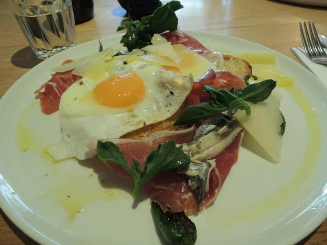 White anchovies & jamon serrano with fried eggs, gruyere cheese & toast - $19