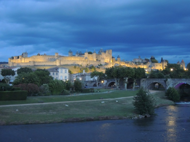 But we were rewarded by this view! The medieval town lit up at night :)